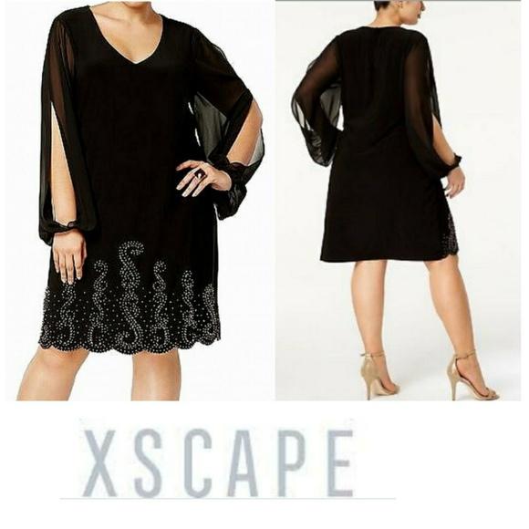 4f5aa856 X by Xscape Dresses | Xscape Plus Size Coldshoulder Beaded Dress ...